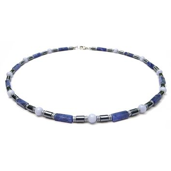 Blue Lace Agate Mens Chakra Necklace, Sodalite Crystal Healing Stones Energy Balancing Jewelry | PEACE | CALM | DECISIVE  | - Jewels for Gents
