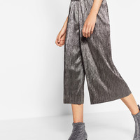 SHINY CROPPED TROUSERS DETAILS