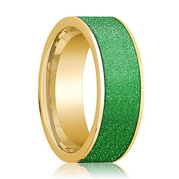 Mens Wedding Band 14K Yellow Gold with Textured Green Inlay Flat Polished Design