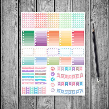 SALE 50%OFF Pastel Triangles Planner Stickers Printable Stickers Erin Condren Filofax Box Stickers Page Flags Weekend Banners To Do Stickers