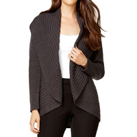 Alfani Womens Ribbed Knit Open Front Cardigan Sweater
