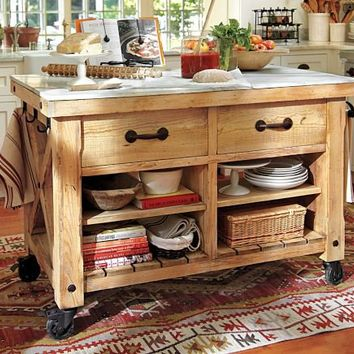 Hamilton Reclaimed Wood Marble-Top Kitchen Table - Large   Pottery Barn