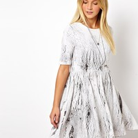 ASOS Smock Dress In Crack Print