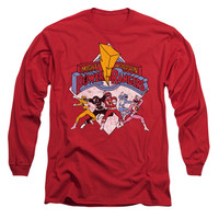 Power Rangers Men's  Retro Rangers Long Sleeve Red Rockabilia
