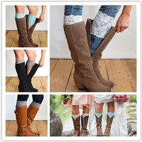 New Stretch Lace Boot Cuffs Flower Leg Warmers Lace Trim Toppers Socks Colors = 1945741572