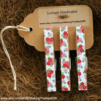 Wooden Clothespin Clips - Set of 3 large clips with red and pink flowered print paper