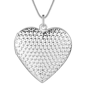 ON SALE - Diamond Plated Sterling Silver Heart Locket Necklace