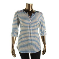 Style & Co. Womens Cotton Contrast Trim Casual Top