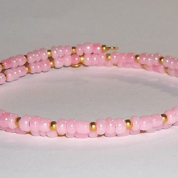 Baby Pink & Gold Glass Beaded Artisan Crafted Stackable Wrap Bracelet (S-M)