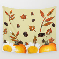 Fall Harvest Pattern Wall Tapestry by Deluxephotos