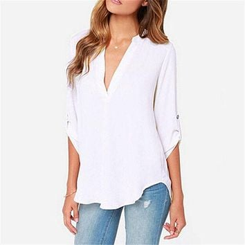 New Summer Fashion Women Casual V-neck Long Sleeve Blouse Casual Womens Loose Tops Blouses Clothing