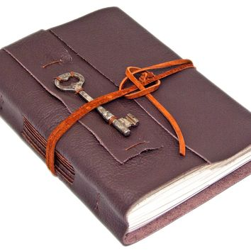 Brown Leather Journal - Skeleton Key Bookmark - Lined Paper - Travel Journal - Rustic - Wrap Journal - Art Sketchbook - Diary - Handmade