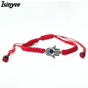 ISINYEE Lucky Kabbalah Red String Thread Hamsa Bracelets Blue Turkish Evil Eye Charm Women Handmade Fatima Friendship Jewelry