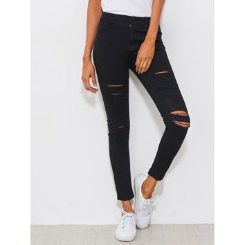 Roll Out Distressed Skinny Jeans - Black