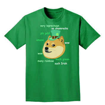 St Patricks Day Leprechaun Doge Adult Dark T-Shirt