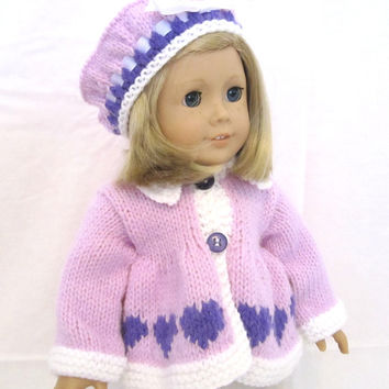 American Girl Doll Sweater Beret Set Purple White Hearts