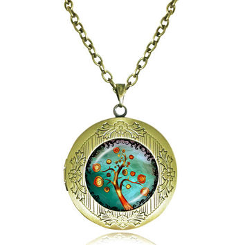TREE OF LIFE Pendant Bodhi Tree locket Necklace Yin Yang Yoga Tree Jewelry Meditation Jewelry Zen Necklaces tree Reflection 6