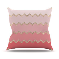 "Monika Strigel ""Avalon Coral Ombre"" Pink Chevron Throw Pillow"