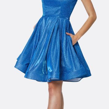 Glitter Double Straps Fit Flare Short Party Dress Royal Side Pockets