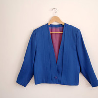 cobalt blue blazer - 80s vintage avant garde boxy cropped jacket - long sleeves - small / medium