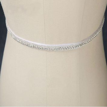 Sparkly Crystals Beaded White Bridal Belt for Wedding Dresses Rhinestone Belt wedding accessories
