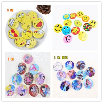 50Pcs Princess Smile Hello Kitty Emoji Star Badges Cartoon Brooch For Clothing Backpack Icon Button Badge Pins Kids Party Gift