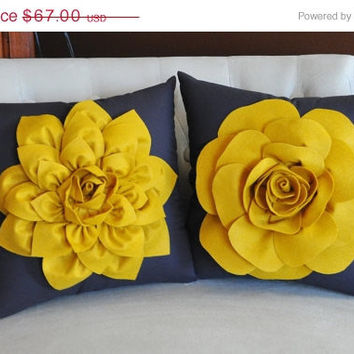MOTHERS DAY SALE Two Decorative Flower Pillows -Mustard Yellow Dahlia and Mustard Yellow Rose on Charcoal Grey 14 X 14