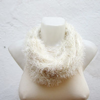 Crochet Scarf infinity -Cream - Necklace Long Winter Accessories-chain loop scarf