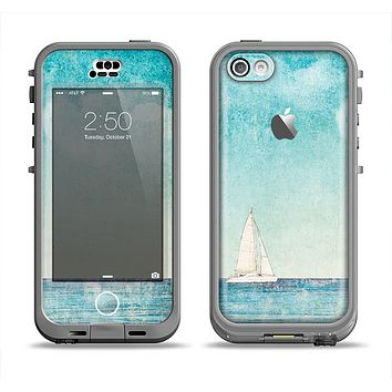 The Faded WaterColor Sail Boat Apple iPhone 5c LifeProof Nuud Case Skin Set