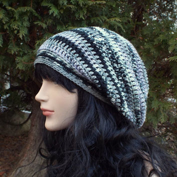 Multicolor Stripe Slouch Beanie - Womens Slouchy Crochet Hat - Black Gray Lavender - Ladies Oversized Cap - Hipster Hat - Baggy Beanie