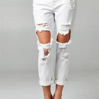White Destroyed Boyfriend Jeans