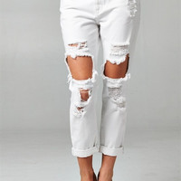 Distressed & Destroyed Boyfriend Jeans - White
