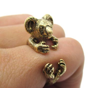3D Koala Bear Wrapped Around Your Finger Shaped Animal Ring in Shiny Gold | US Size 4 to 8.5