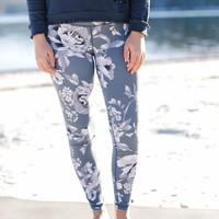 West Palm Floral Leggings, Grey