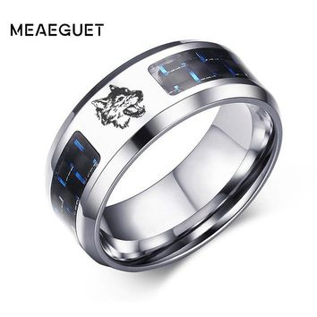 Charm Men's Ring Silver Color Engraved Animals Wolf Dragon Vicking Stainless Steel Wedding Engagement Anillo Anel Male Gifts