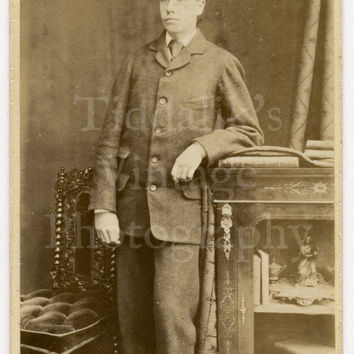 CDV Carte de Visite Photo Victorian Young Handsome Man Standing Portrait by A Ayton of Edinburgh Scotland