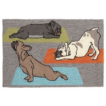 Trans Ocean Imports Liora Manne Frontporch Yoga Dogs Indoor Outdoor Rug (Grey)