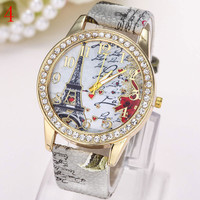 Fashion Watch For Women Love Eiffel Tower In Paris Diamond Print Watches Jewelry