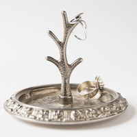 Vintage jewelry stand - silver plated tree stand - rings, earrings holder, Europe