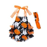 Arloneet Newborn halloween costume Infant Baby Boy Girls Pumpkin Print Lace Rompers Outfits Clothes l0731