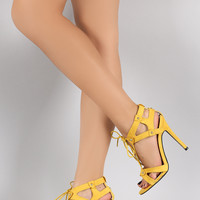 Qupid Angles Lace Up Open Toe Heel