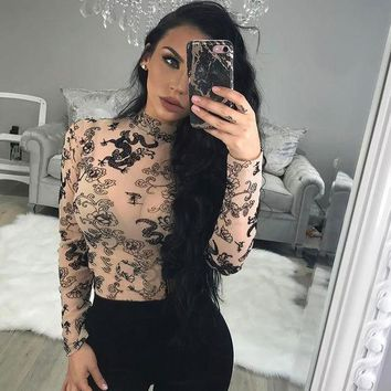 DCCKH3L Women Fashion Dragon Pattern Print Perspective Gauze Long Sleeve Turtleneck Stretch Show Thin T-shirt Bodycon Tops