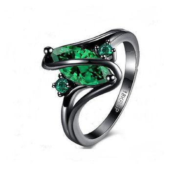 Trendy Green Engagement Wedding CZ Crystal Ring(6,7,8)