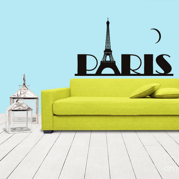 rvz1078 Wall Sticker Decal Eiffel Tower Decal Paris France Words Quote Paris Z1078