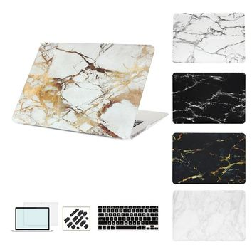Marble Print Matte Hard Protector Laptop sleeve Case For MacBook Air 11 12 13 Pro 15 inch with Retina + Keyboard Cover+film