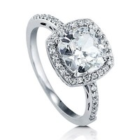 BERRICLE Sterling Silver 1.85 ct.tw Cushion Cubic Zirconia CZ Halo Engagement Wedding Bridal Ring