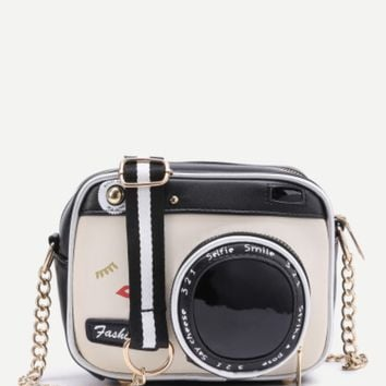 Camera Shaped Crossbody Purse with Chain
