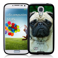 Cute Pug Dog Face - Protective Designer BLACK Case - Fits Samsung Galaxy S4 i9500