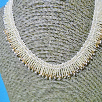 Crystal brides necklace with fringes in the colours beige and white, beige necklace, gift for her,brides gift,Swarovski crystal
