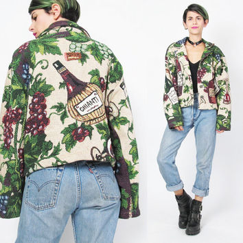 90s WINE Tapestry Jacket Cropped Blanket Jacket Vineyard Red Wine Tour Grapes Novelty Print Jacket Womens Woven Cotton Button Up Jacket (M)